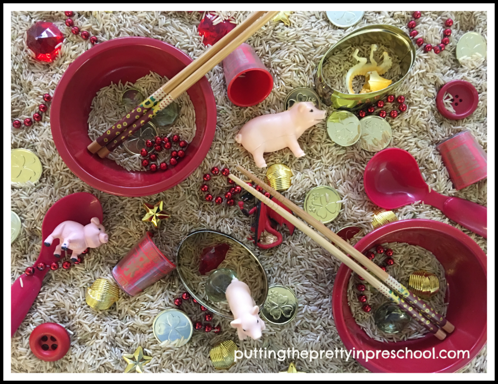 A Chinese New Year 2019 rice sensory bin.