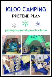 Igloo camping center with fur, sequins, fishing gear, and polar animals. Pretend play winter theme.