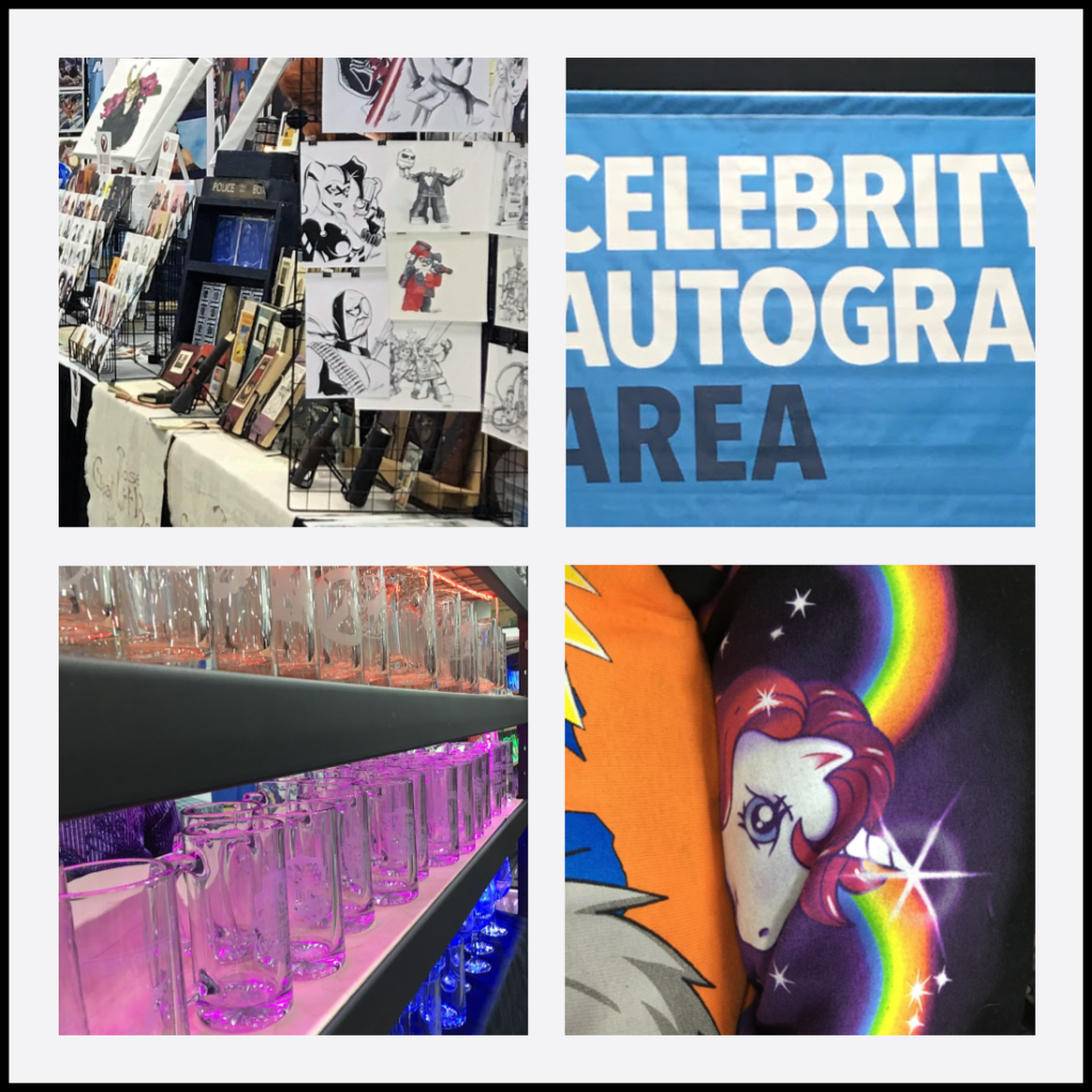 Pictures of booths and merchandise set up at a Comic And Entertainment Expo.