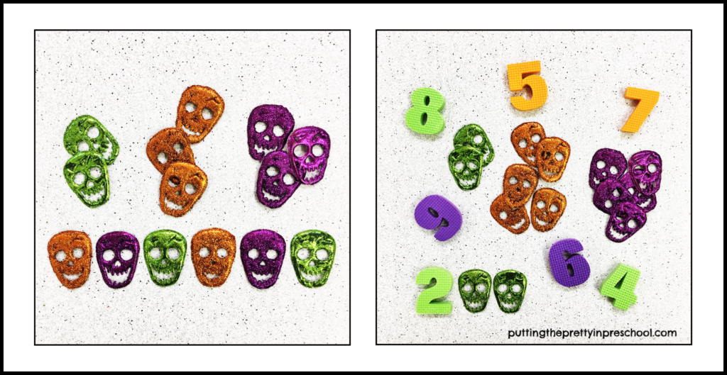 Glitter skulls used for counting, sorting, and patterning activities.