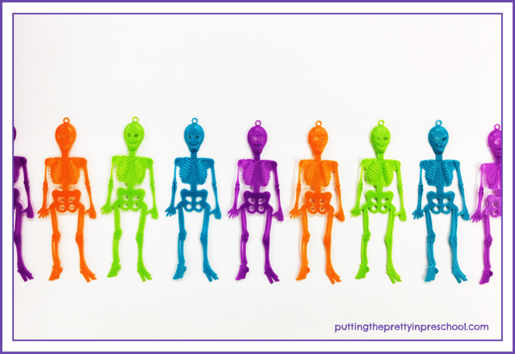 Neon plastic skeleton party favors are perfect for making patterns.