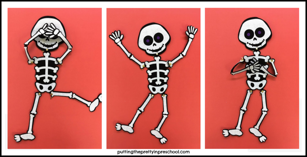 Adorable skeletons with movable limbs put in poses to create different expressions.