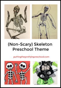 Non-scary preschool theme featuring art, math, science, manipulative and dramatic play activities.