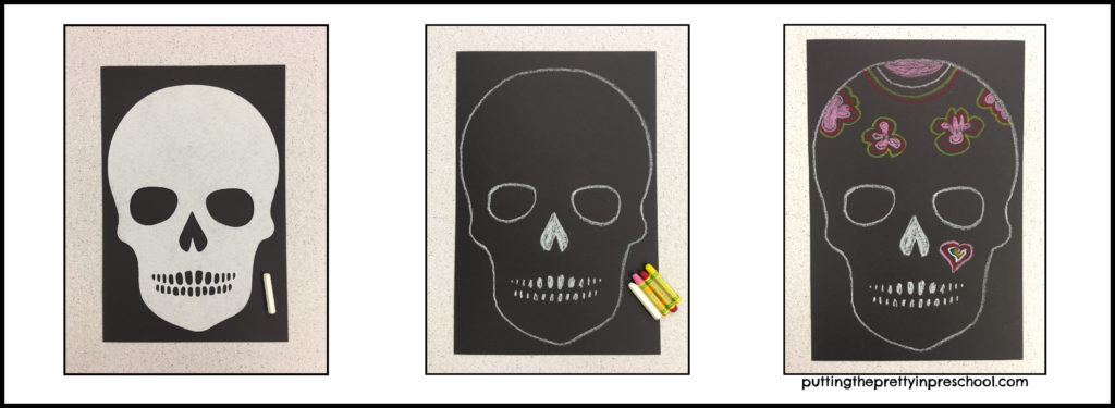 Traced skull activity using a large piece of paper, jumbo felt skull, and padstel crayons.