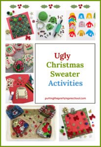 Ugly Christmas sweater activities for young children and their families. Art, sensory, playdough, games, and cookie making.
