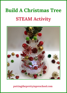 Invitation to build a Christmas tree from clear plastic serving trays, plates, and cups. Decorations and lights embellish the tree. A family STEAM activity with many opportunities for learning.