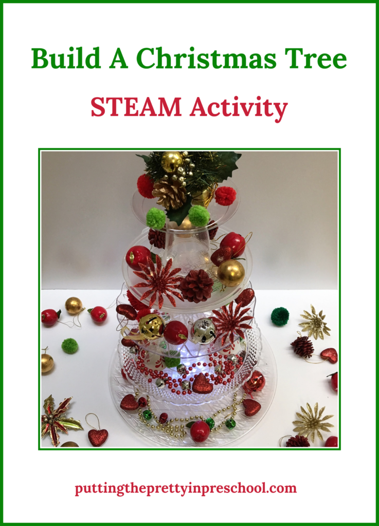 Invitation to build a Christmas tree from clear plastic serving trays, plates, and cups, A family STEAM activity with many opportunities for learning.