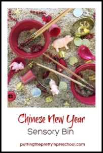 Chinese New Year 2019 rice sensory bin.