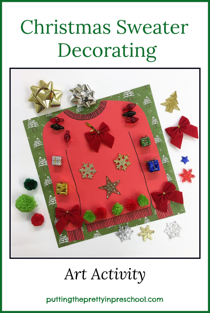 Station to decorate a paper Christmas sweater with seasonal craft supplies. This could be a reusable table activity or craft to take home.