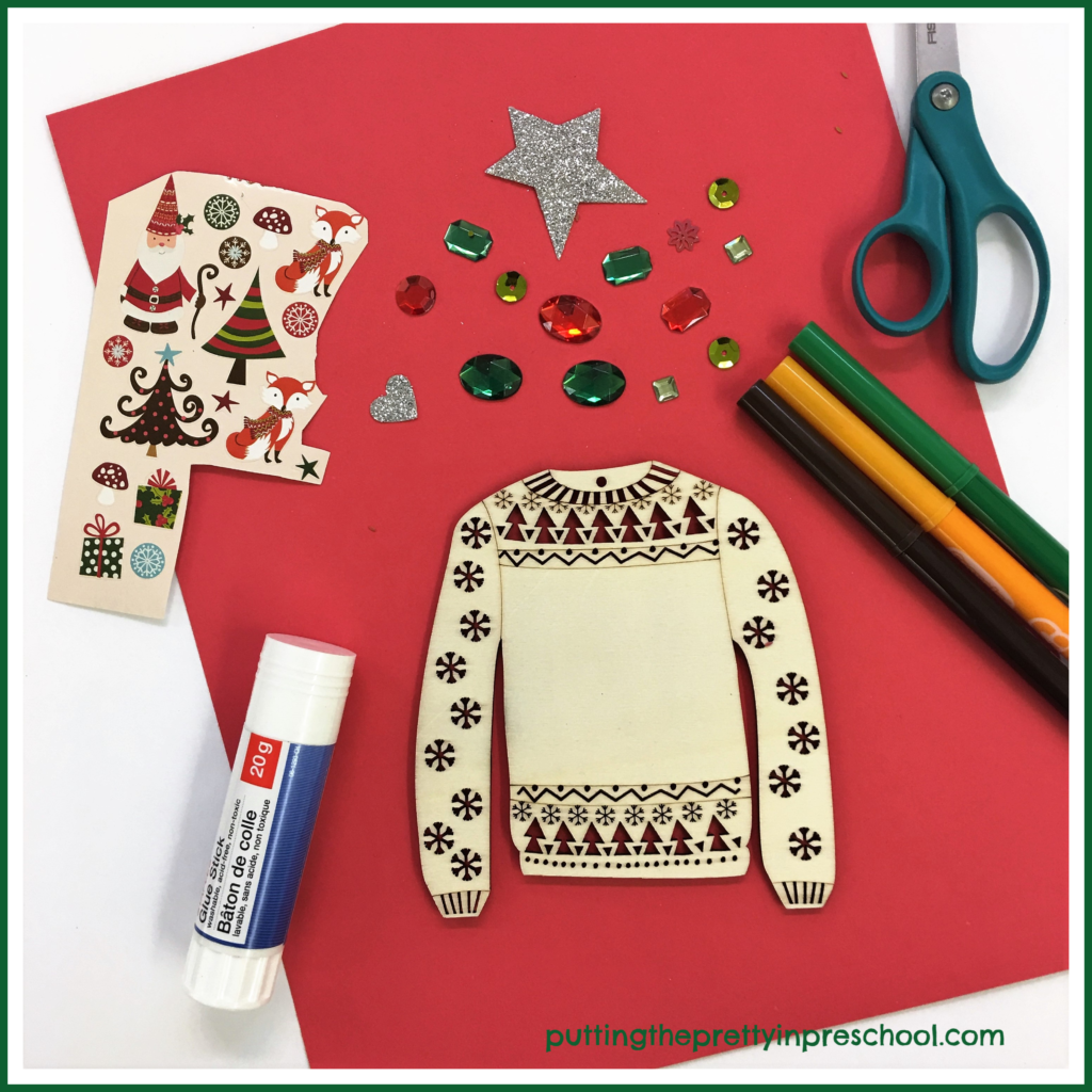 Christmas sweater tracing and decorating center.