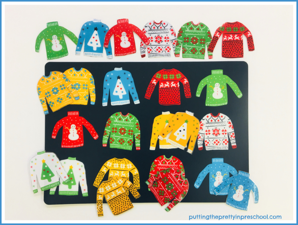 Ugly Christmas sweater placemat matching game.