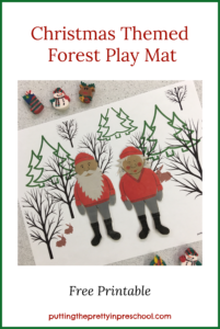 Winter Forest Play Mat with paper doll figures offers opportunities for imaginative play. Free printable available for download.