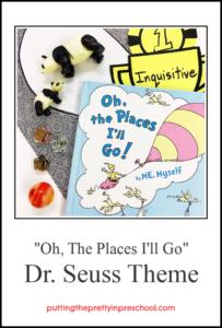 Dr. Seuss preschool theme featuring small world, art, language arts, math, and self-esteem building activities.
