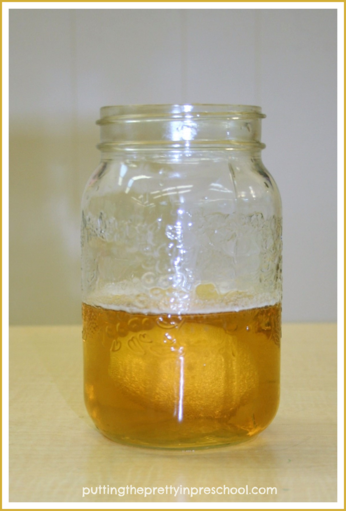 A boiled egg immersed in a jar half-filled with cider vinegar.