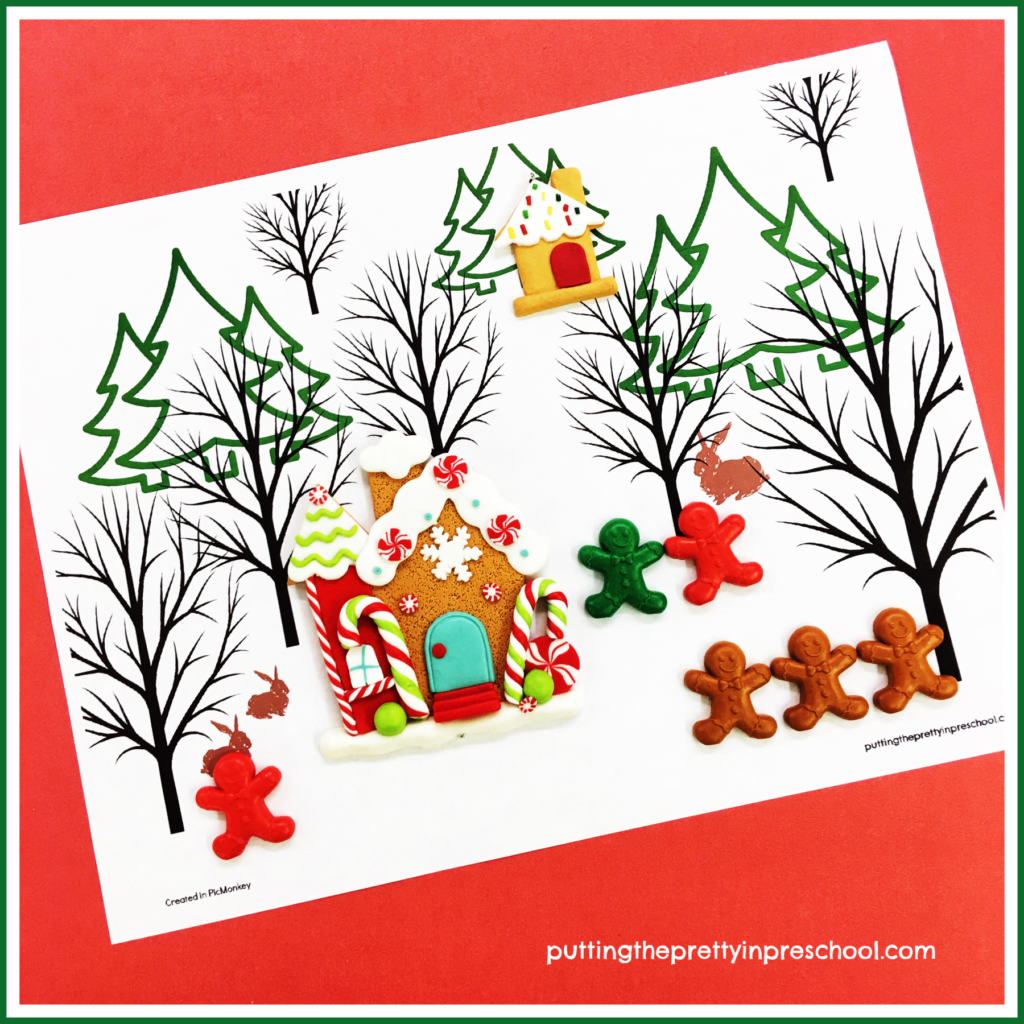 Winter Forest Placemat with gingerbread themed decorations and game pieces offers opportunities for imaginative play. Free printable available for download.