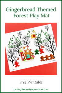 Winter Forest Play Mat with gingerbread themed decorations and game pieces offers opportunities for imaginative play. Free printable available for download.