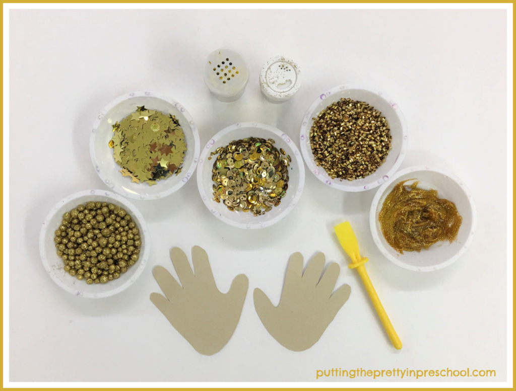 Decorate handprints with glitter glue and gold stars, sequins, confetti, and glitter. A collage activity for all ages.