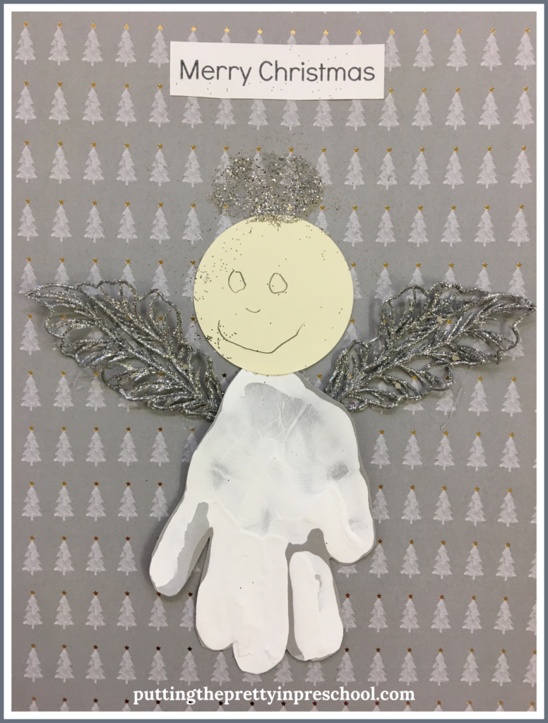 "A handprint angel craft with the caption ""Merry Christmas."" An easy to make keepsake all children can create."