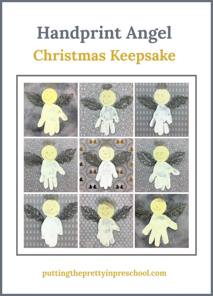 Handprint Angel Christmas craft with silver metallic leaf wings. An easy to make keepsake craft that all children can do.