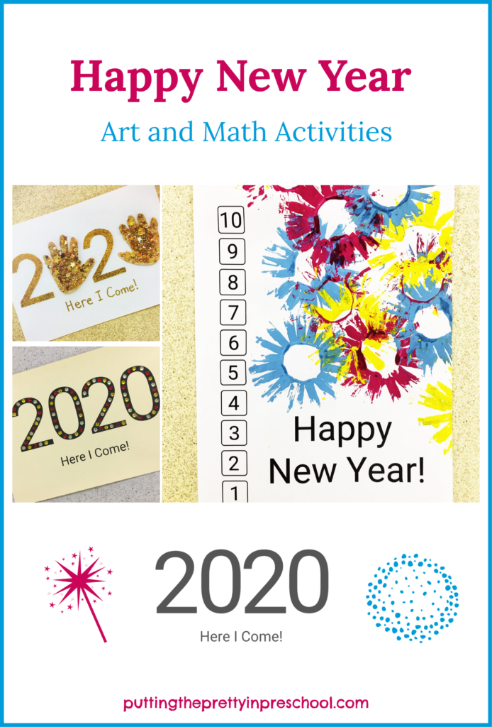 Ring in the new year and decade with easy, no fuss art activities that double up as math exercises. Early learners count down from 10 to one and work with the numbers in 2020 while doing art activities with paint, glue, adhesive jewels and collage items.