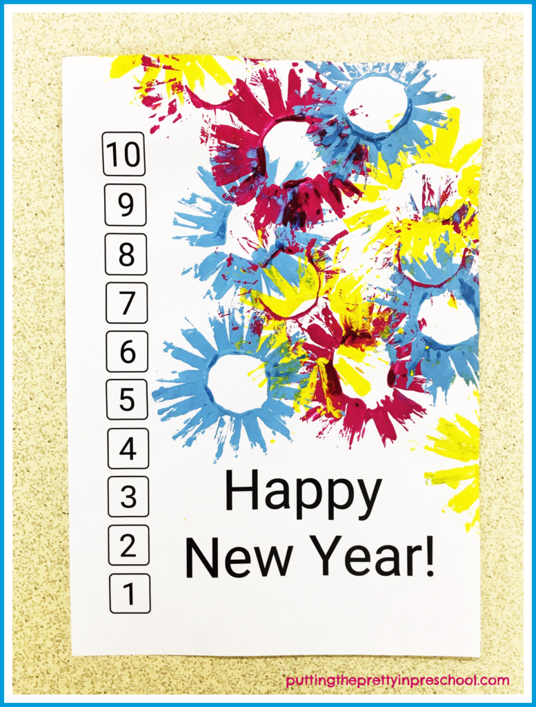 A paper roll and paint art activity to ring in the new year with. Introduce this activity with your early learners using this Happy New Year printable. Incorporate math by having children count down from 10 to 1 and match numbers by adding numerical stickers.