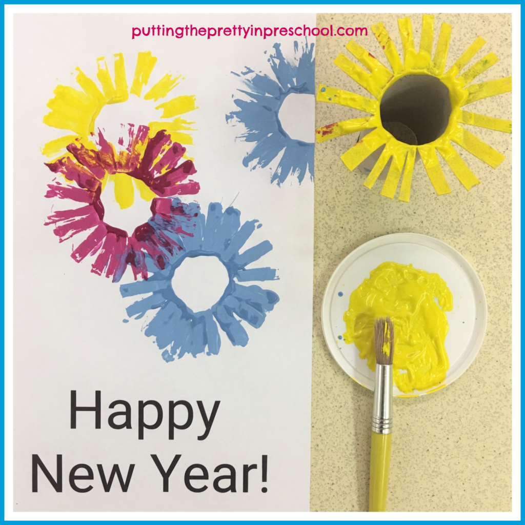 Toilet paper roll firework paint prints. For added control, paint the fringes of the paper roll and press onto the Happy New Year printable to create fireworks.