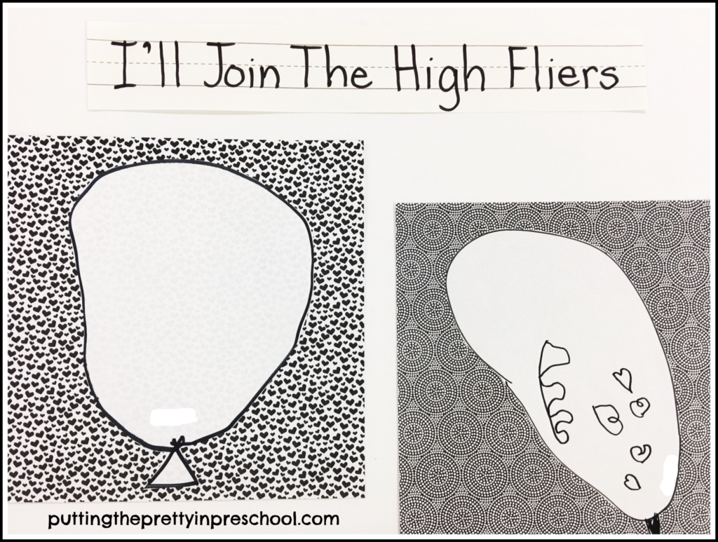 Dr. Seuss inspired hot air balloon drawings with black felt pens. Art activity for preschoolers.