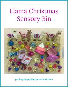 "Llama themed sensory bin inspired by the picture book ""Llama, Llama Holiday Drama"" by Anna Dewdney."
