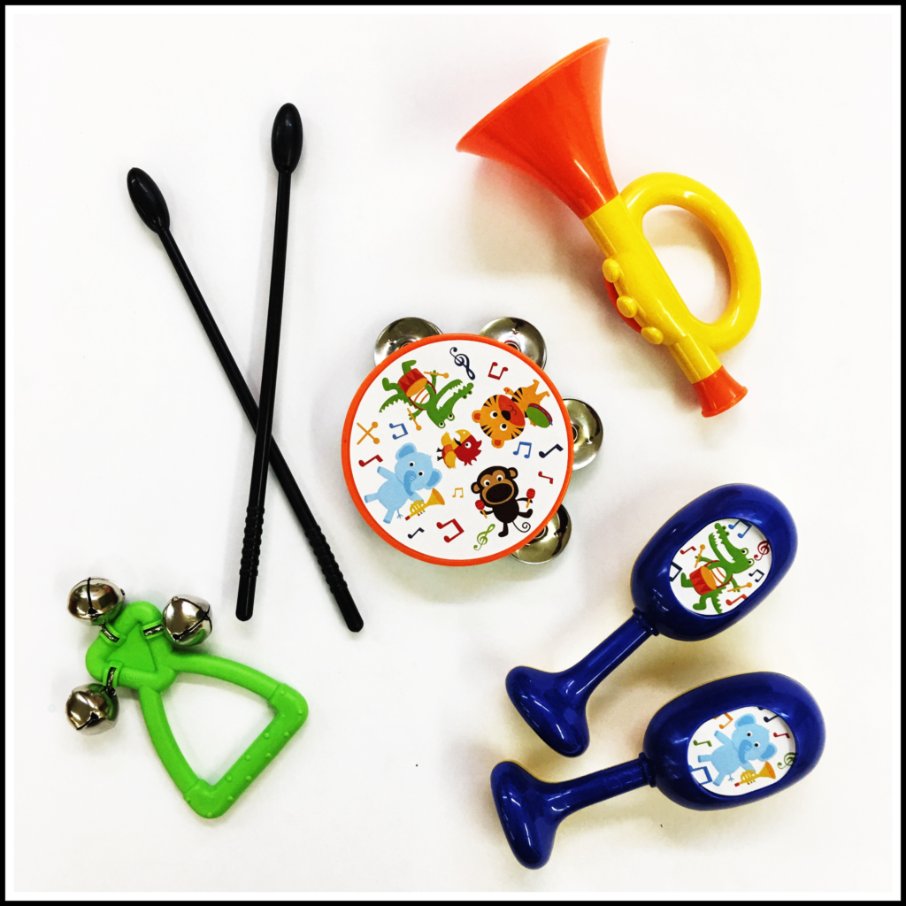 A set of musical instruments for preschool children.
