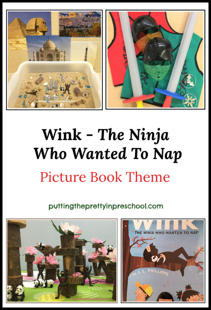 Wink, The Ninja Who Wanted To Nap picture book theme featuring sensory, small world, art, large motor, and pretend play activities.