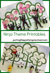 Ninja theme table placemat printables to use with figurines and loose parts.