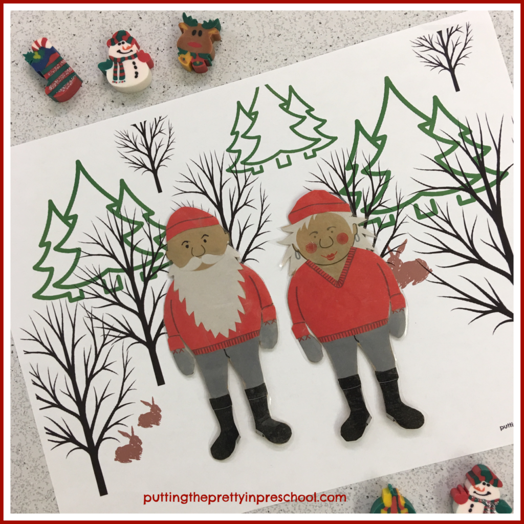 Winter Forest Placemat with paper doll figures offers opportunities for imaginative play. Free printable available for download.