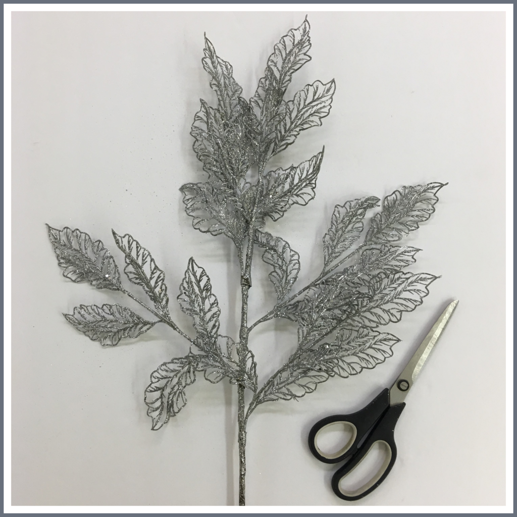A metallic silver leaf stem.