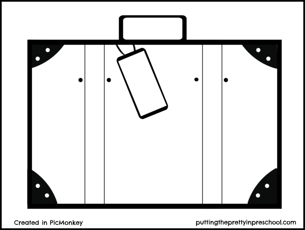 Suitcase printable. Suitable for all ages to decorate.