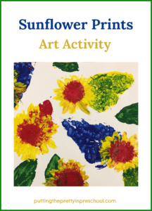 Paint prints with sunflowers. Tempera paint and primary colors used with leaves and heads of sunflowers.