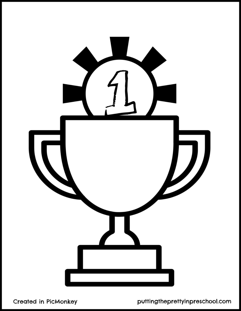 Trophy printable. Suitable for all ages to decorate.
