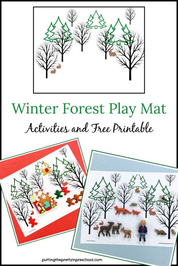 Winter forest play mat and activities. Small world play opportunities with gingerbread decorations, paper Santa dolls, and forest animal figures. Free printable.