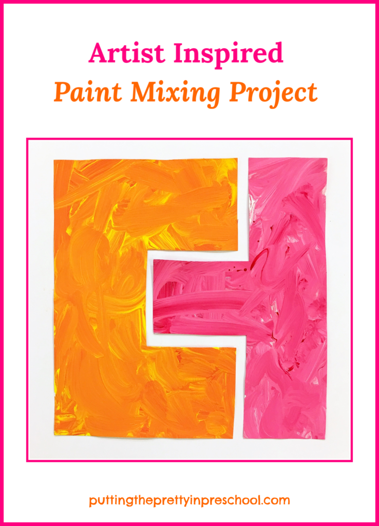 Color mixing paint project with red, white and yellow paint.