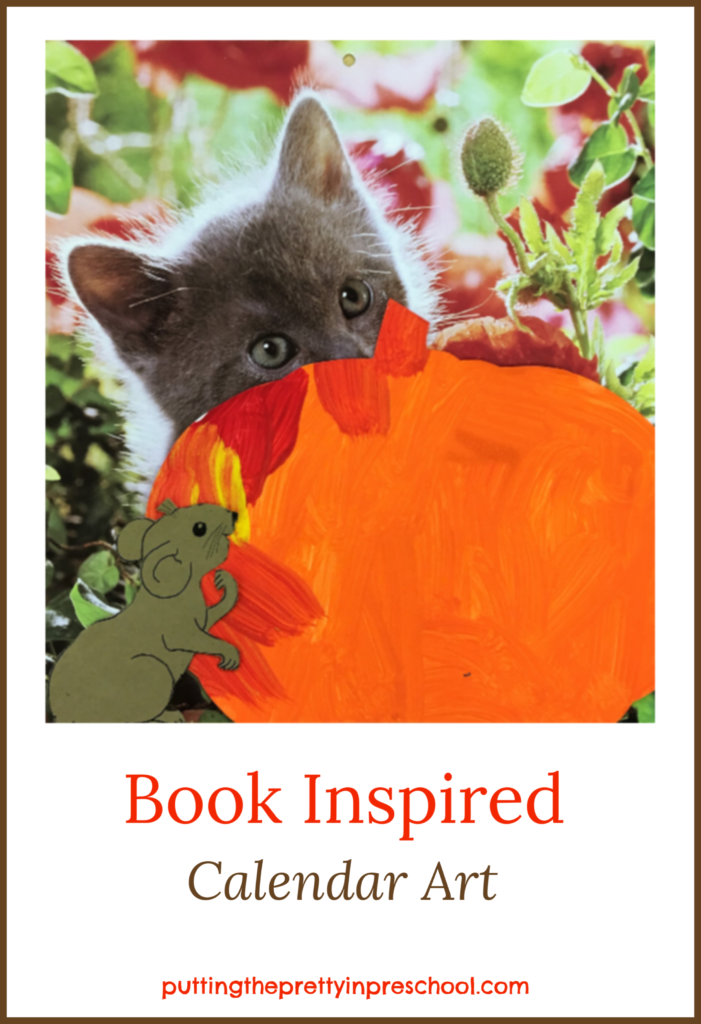 Calendar art inspired by the storybook Pumpkin Cat by Anne Mortimer.