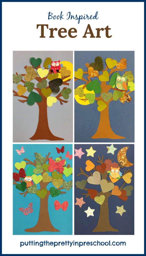 "Tree Art inspired by the storybook ""Wow! Said The Owl"" by Tim Hopgood. Papercraft art using a variety of colors and textures."