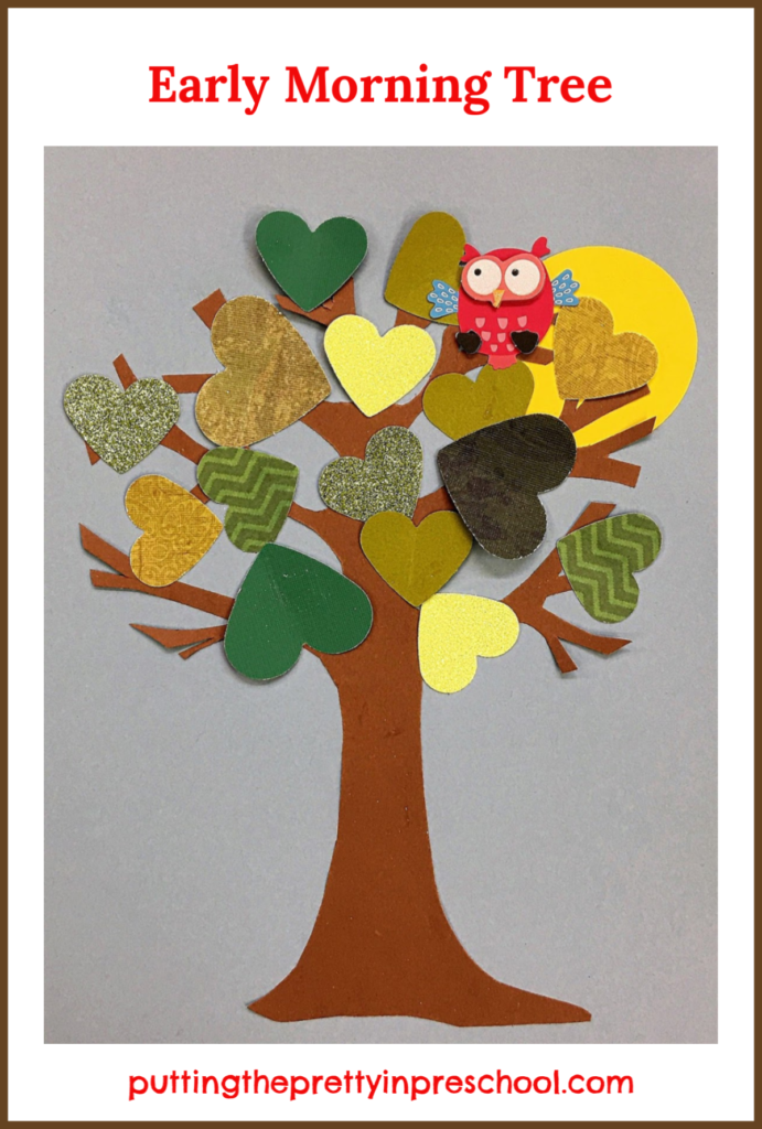 """Sunrise paper craft tree inspired by the storybook """"Wow! Said The Owl"""" by Tim Hopgood."""