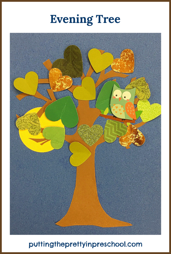 """Sunset paper craft tree inspired by the storybook """"Wow! Said The Owl"""" by Tim Hopgood."""