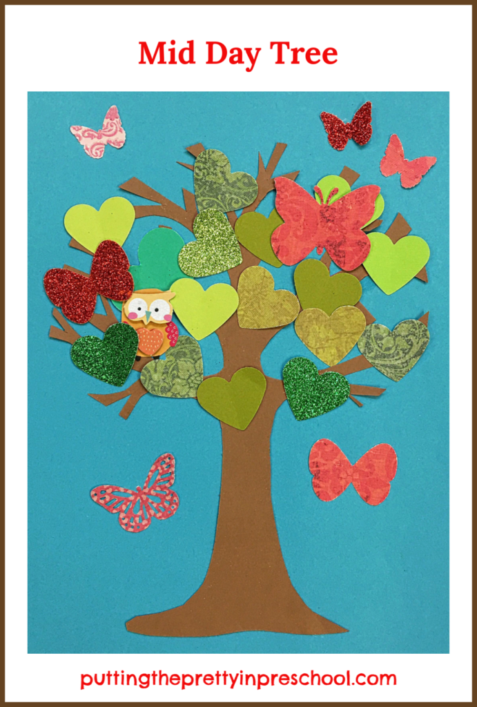 Mid day paper craft tree inspired by the storybook 'Wow! said The Owl' by Tim Hopgood.