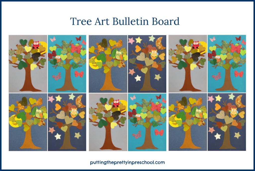 Tree art projects arranged in a mosaic pattern on a bulletin board.