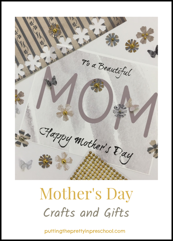 Mother's Day paper crafts with jewelry and decorative key chain accents. Art ideas all children can do.