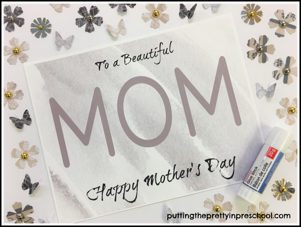 "Decorate the word ""mom"" with gorgeous paper butterflies and flowers. This craft is suitable for all ages, and works great for Mother's Day or word review."