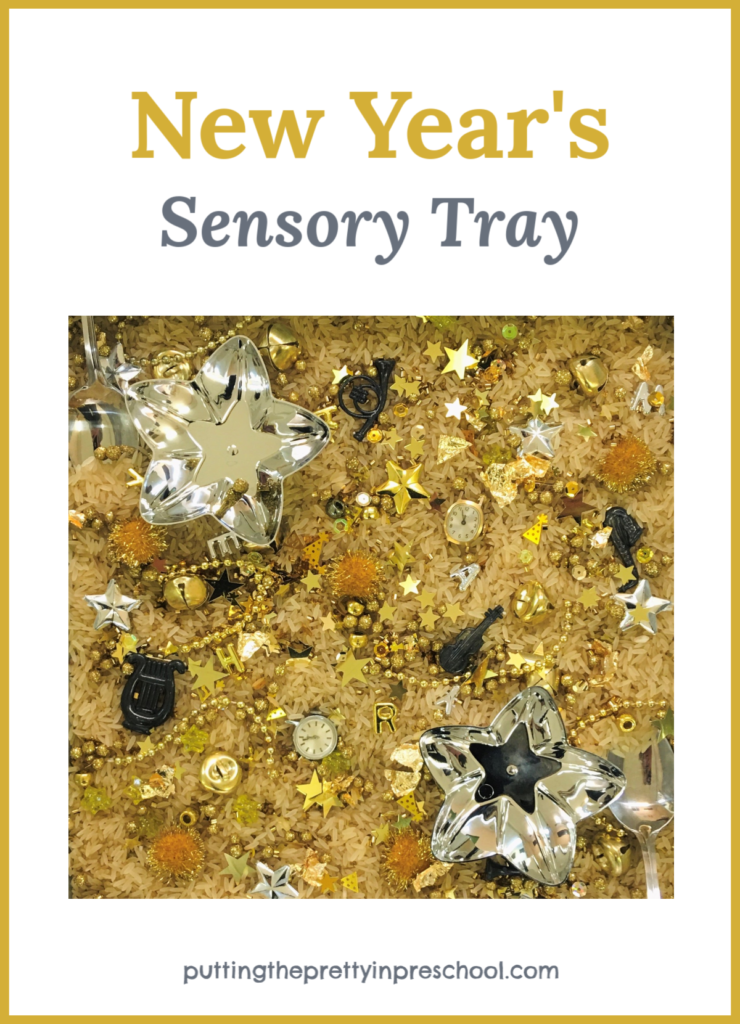 New Year's sensory tray with gold and silver pieces. Two watch heads are the highlights. This tray offers math, language and sensory opportunities for learning.