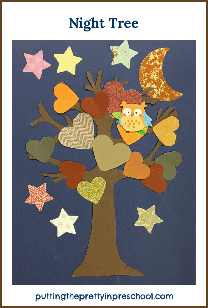 Nighttime paper craft tree inspired by the storybook 'Wow! Said The Owl' by Tim Hopgood.