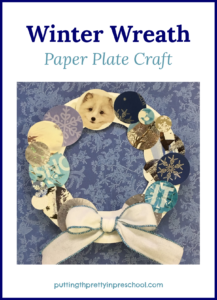 Winter wreath craft made from a paper plate and recycled cards. A low-cost art project suitable for all ages to do.