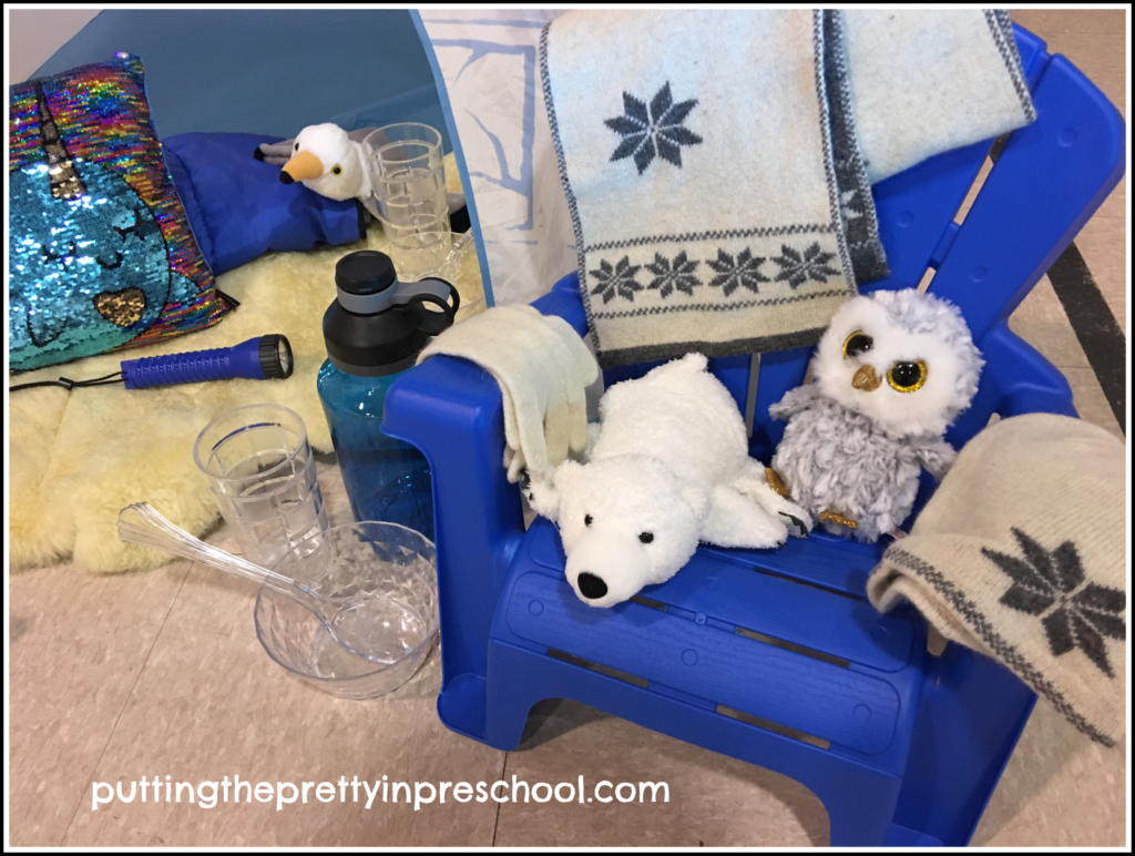 Polar animal dramatic play with an igloo, camping chair, and accessories.